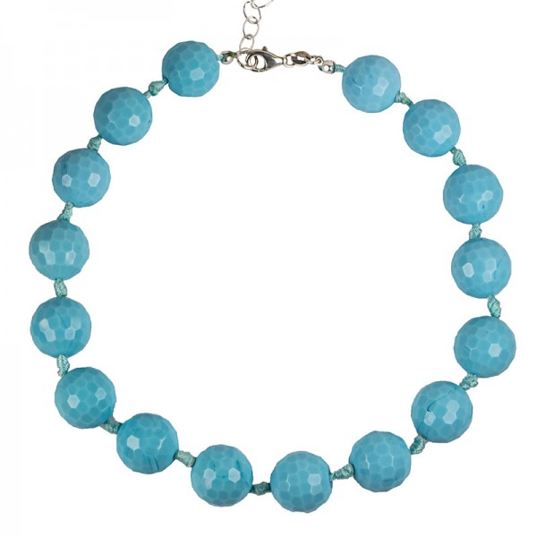 Jt Silver necklace blue nephrite stones with knots