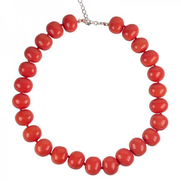 Jt Sterling Silver Coral Shell Pearls Beaded Necklace