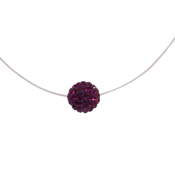 Jt Silver choker aubergine Purple Swarovski necklace