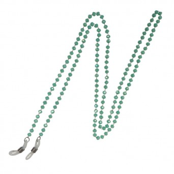 Jt Stainless steel glasses' chain with pistachio green crystals