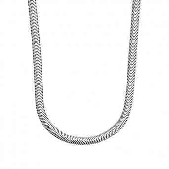 Jt Γυναικεία αλυσίδα λαιμού φιδίσια πλακέ ατσάλι 8mm