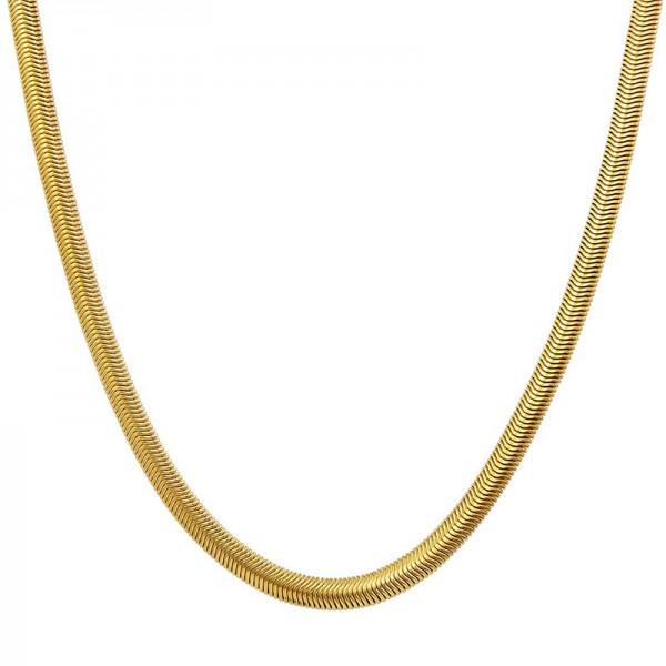 Jt Γυναικεία αλυσίδα λαιμού φιδίσια χρυσή ατσάλι 6mm