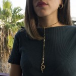 Jt Long stainless steel gold chain snake necklace