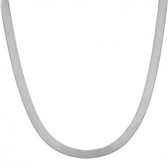 Jt Γυναικεία αλυσίδα λαιμού φίδι λεπτή πλακέ ατσάλι 3mm