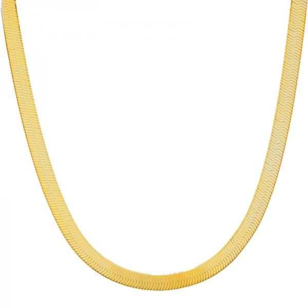 Jt Γυναικεία αλυσίδα λαιμού φίδι χρυσή λεπτή πλακέ ατσάλι