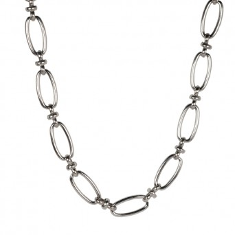 Jt Stainless steel unisex oval decorative chain necklace 9mm