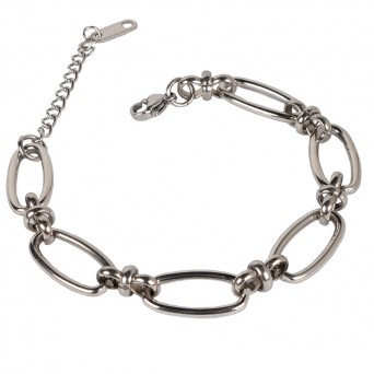 Jt Silver Chain Bracelet Wide Hoops