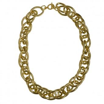 Jt Χρυσή αλυσίδα λαιμού γυναικεία διπλός κρίκος αλουμίνιο