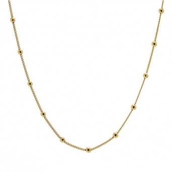 Jt Gold plated silver balls on thin chain necklace