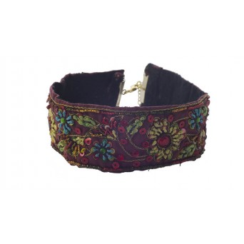 Jt Silver embroidered bordeaux boho choker with sequins