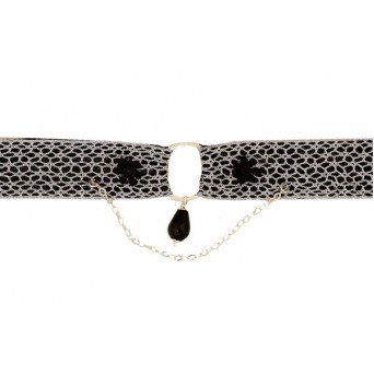 Jt Silver choker necklace with silver lace and onyx drop