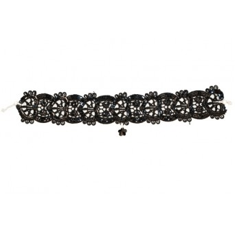 Jt Silver Swarovski flower choker necklace with black gloss lace