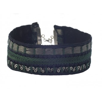 Jt Silver embroidered green choker with sequins
