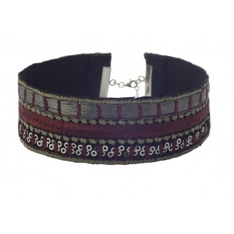 Jt Silver embroidered bordeaux choker with sequins