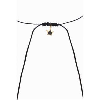 Jt Gold plated silver crown macrame choker necklace