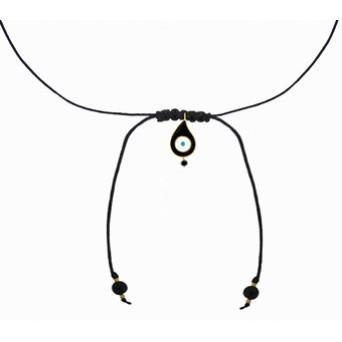 Jt Gold plated silver macrame choker evil eye necklace