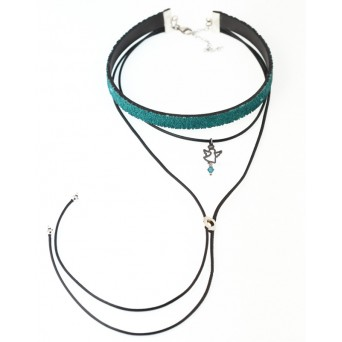 Jt Silver triple choker turquoise necklace