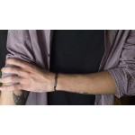 Jt Men's Silver Macrame ID Stars Couple Bracelet