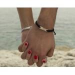 Jt Silver Macrame ID Couple Bracelet