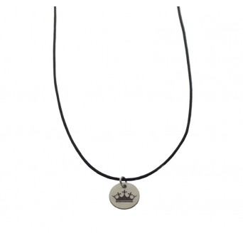 Jt Sterling silver coin with crown couple necklace