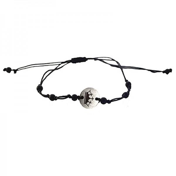 Jt Men`s Silver Macrame Crown Couple Bracelet