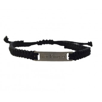 Jt Men's Silver Macrame ID Couple Bracelet
