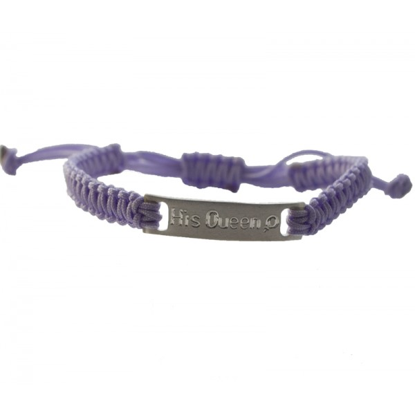 Jt Silver ID purple macrame couple bracelet