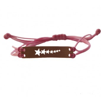 Jt Silver ID pink macrame couple bracelet