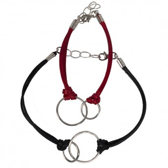 Jt Silver Bound Circles Couples Bracelets