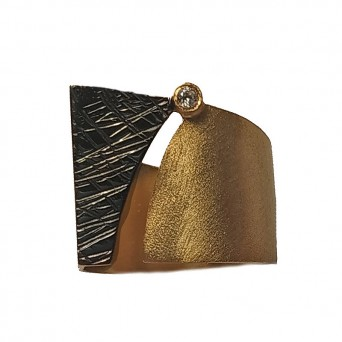 Ano Ασημένιο γεωμετρικό χρυσό δαχτυλίδι με ζιργκόν