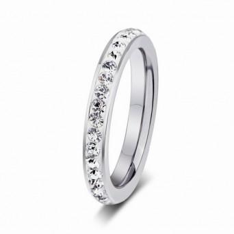 Jt Ατσάλινο ολόβερο δαχτυλίδι λεπτό με λευκά κρύσταλλα