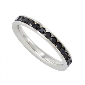 Jt Ατσάλινο ολόβερο δαχτυλίδι λεπτό με μαύρα κρύσταλλα