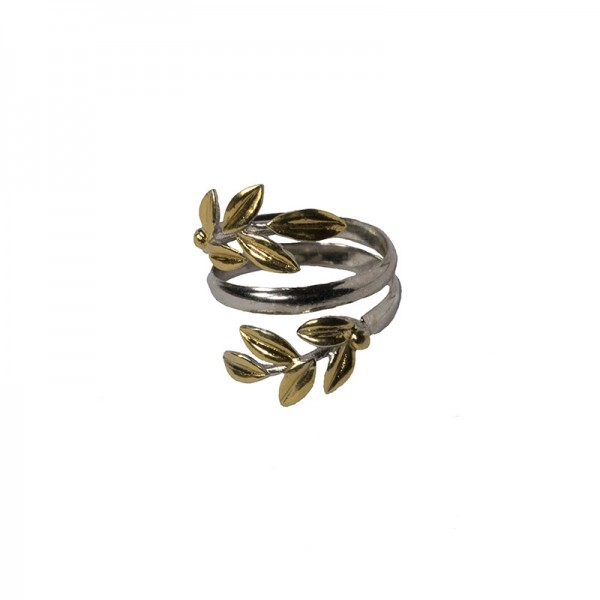 Jt Gold plated sterling silver ring olive leaves