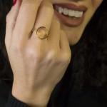 Jt Μίνιμαλ επίχρυσο ασημένιο δαχτυλίδι κύκλος