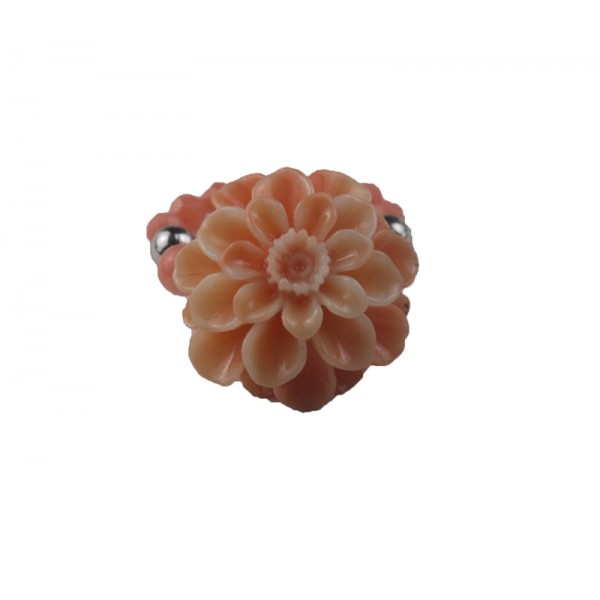 Jt Silver coral chrysanthemum ring with round corals