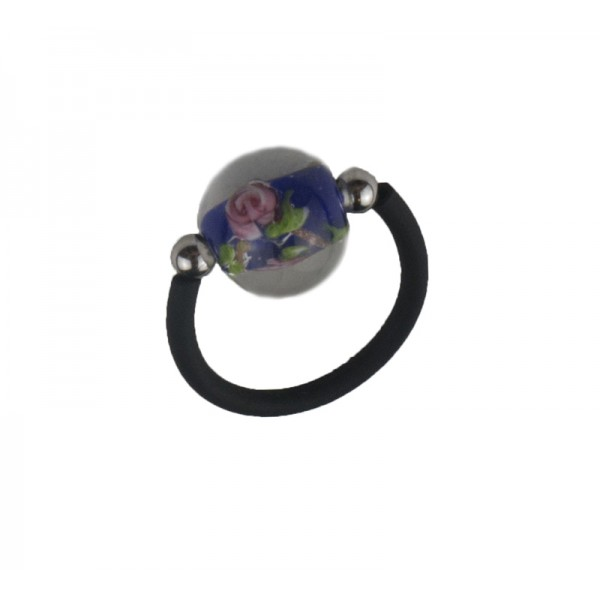 Jt Silver solitaire ring with murano and black rubber