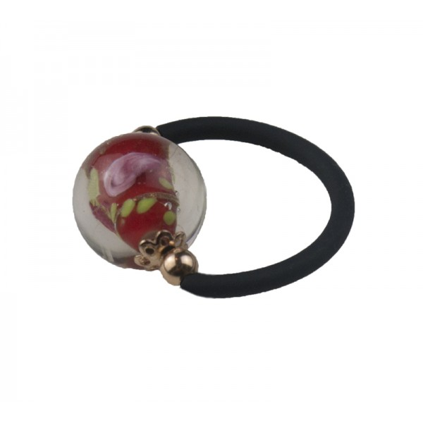 Jt Silver solitaire ring with red murano and black rubber