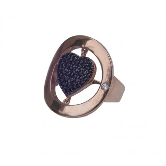 Jt Silver Heart Pave Ring with Black Zirconia
