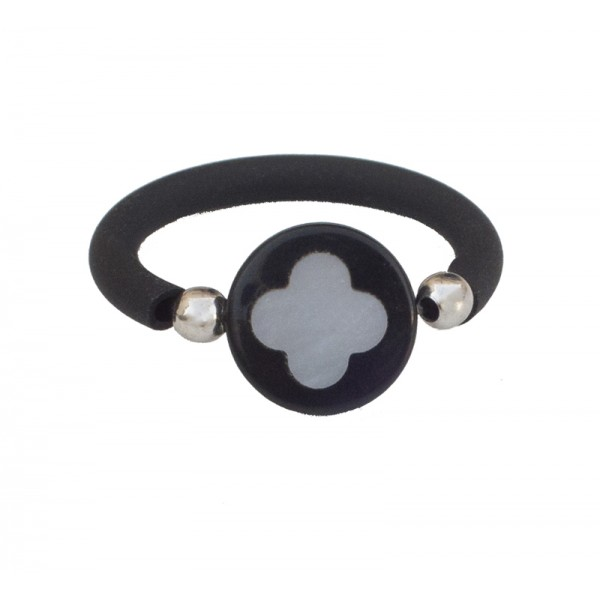 Jt Sterling silver Onyx Flower-Cross ring