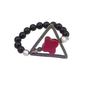Jt Black Rodium Silver Triangle Cross Ring with Coral