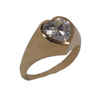 Jt Solitaire gold silver Heart ring with white zircon