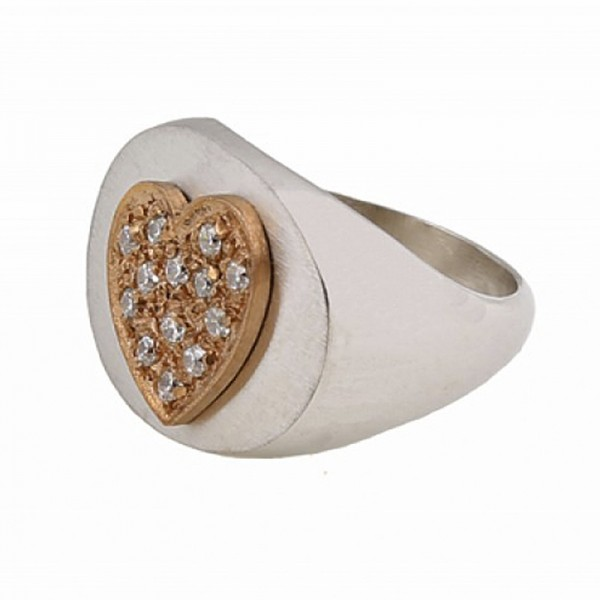 Jt Sterling Silver Gold Heart Ring with Zirconia