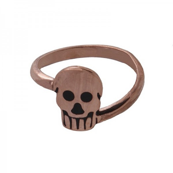 Jt Rose gold plated silver skull ring