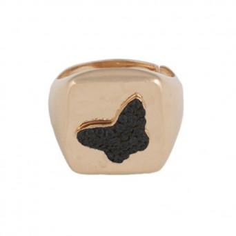 VFJ Ασημένιο τετράγωνο chevalier δαχτυλίδι πεταλούδα με ζιργκόν