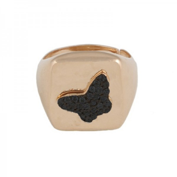 VFJ Chevalier square silver ring with butterfly and zirconia
