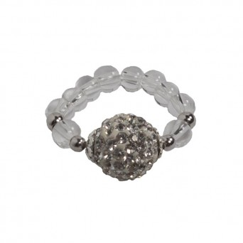 Jt Silver ball ring with white Swarovski ball
