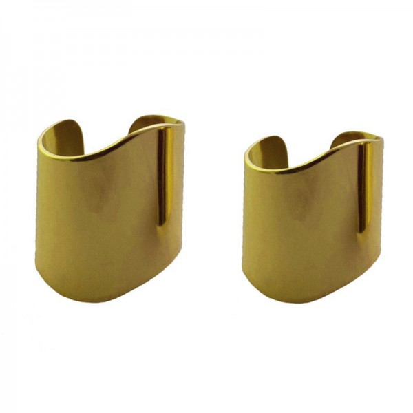 Jt Set of 2 gold steel tube rings with waves, ring finger & chevalie