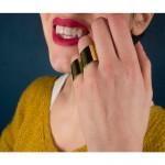 Jt Σετ Aτσάλινα δαχτυλίδια χρυσά σωλήνες με καμπύλες