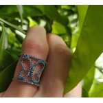 Jt Sterling silver  turquoise zirconia butterfly ring