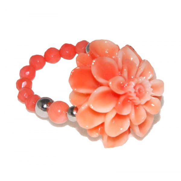Jt Silver coral chrysanthemum ring with corals